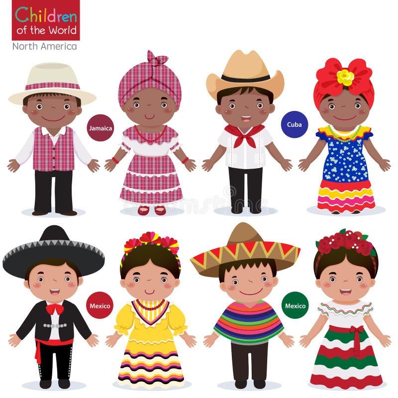 Niños en traje-Jamaica-Cuba-México tradicional ilustración del vector