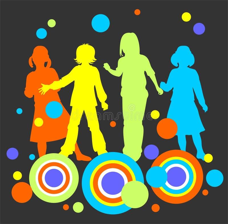 Niños en un fondo oscuro ilustración del vector