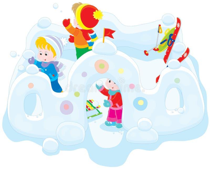 Niños en un fuerte de la nieve ilustración del vector