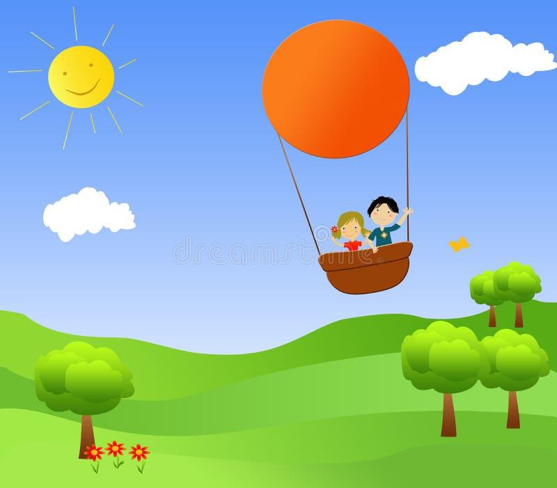 Niños en un globo del aire caliente ilustración del vector
