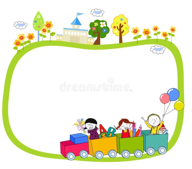 Niños en un tren y un marco stock de ilustración