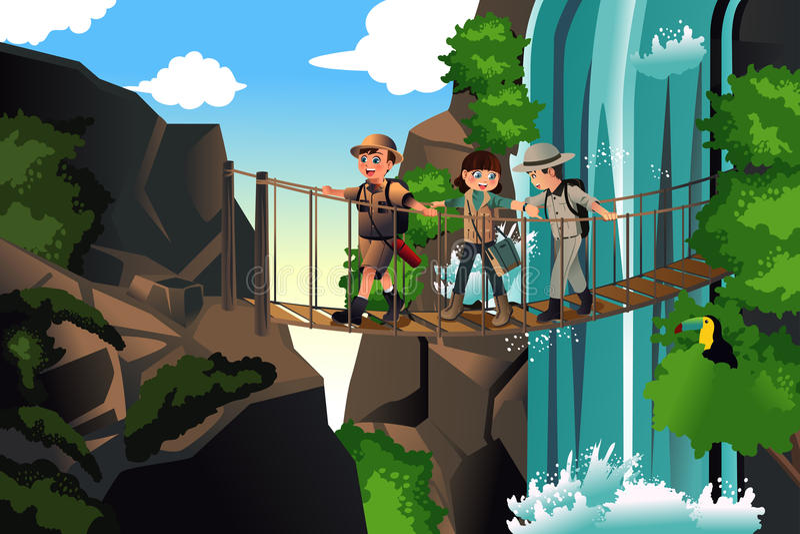 Niños en un viaje de la aventura ilustración del vector