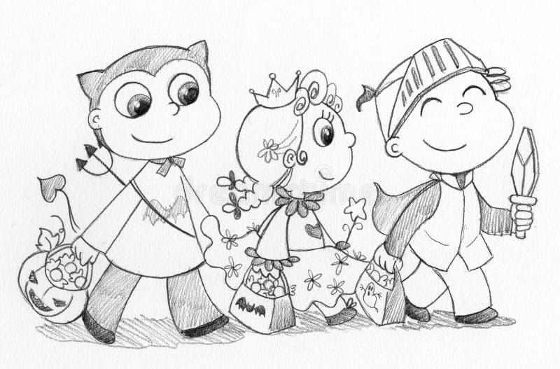 Niños en Víspera de Todos los Santos ilustración del vector