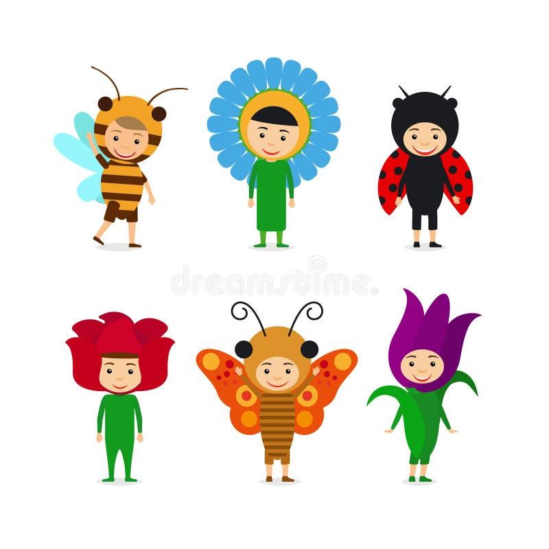 Niños en vestidos del insecto y de la flor ilustración del vector