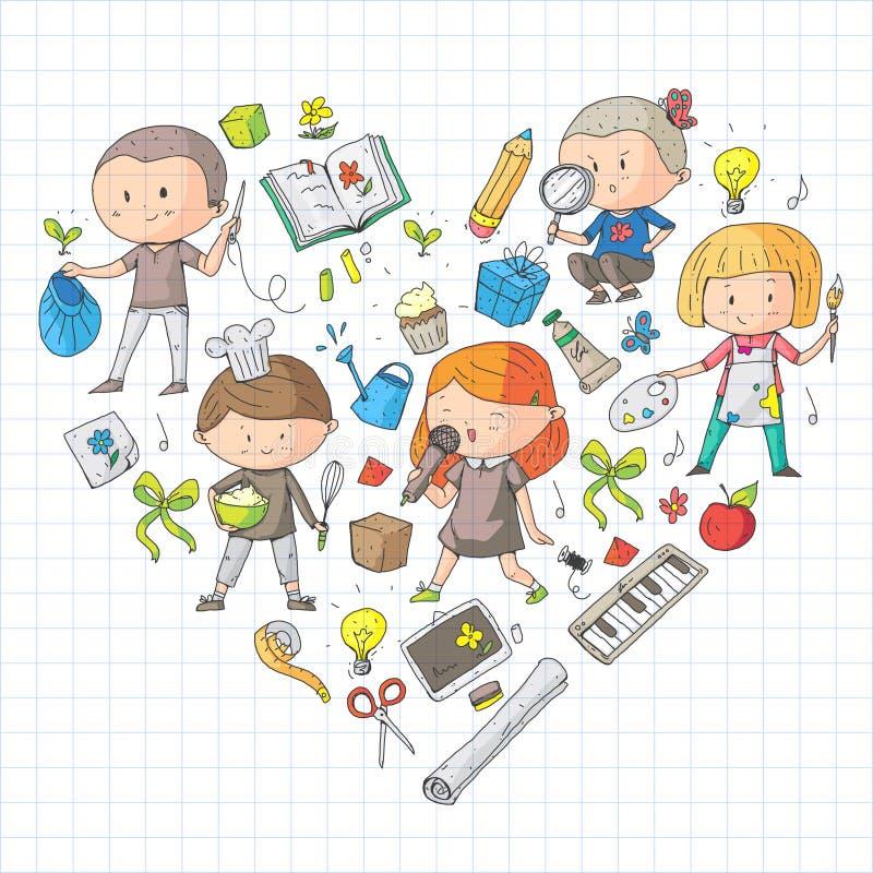 Niños Escuela y guardería Creatividad y educación Música exploración ciencia imaginación Juego y estudio libre illustration
