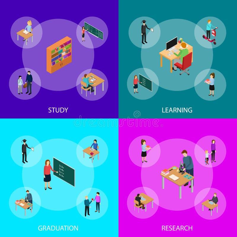 Niños estudiante y opinión isométrica determinada 3d de Education Concept Banner del profesor Vector libre illustration