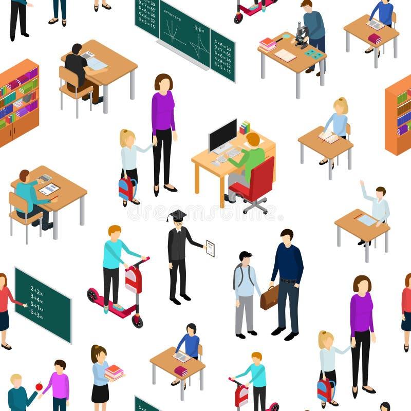 Niños estudiante y profesor Seamless Pattern Background Vector libre illustration