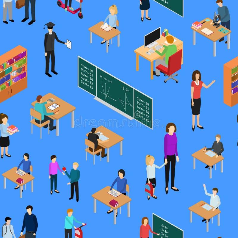 Niños estudiante y profesor Seamless Pattern Background Vector stock de ilustración