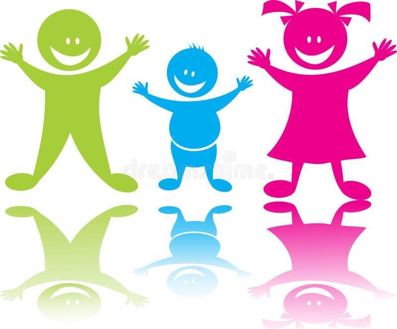 Niños felices alegres ilustración del vector