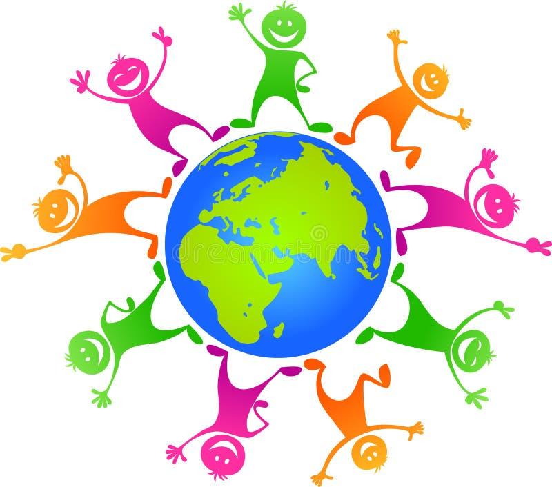 Niños felices alrededor del planeta stock de ilustración