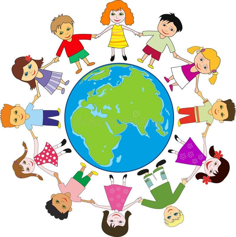 Niños felices alrededor del planeta libre illustration