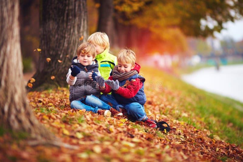 Niños felices, amigos que se divierten entre las hojas caidas en parque del otoño foto de archivo