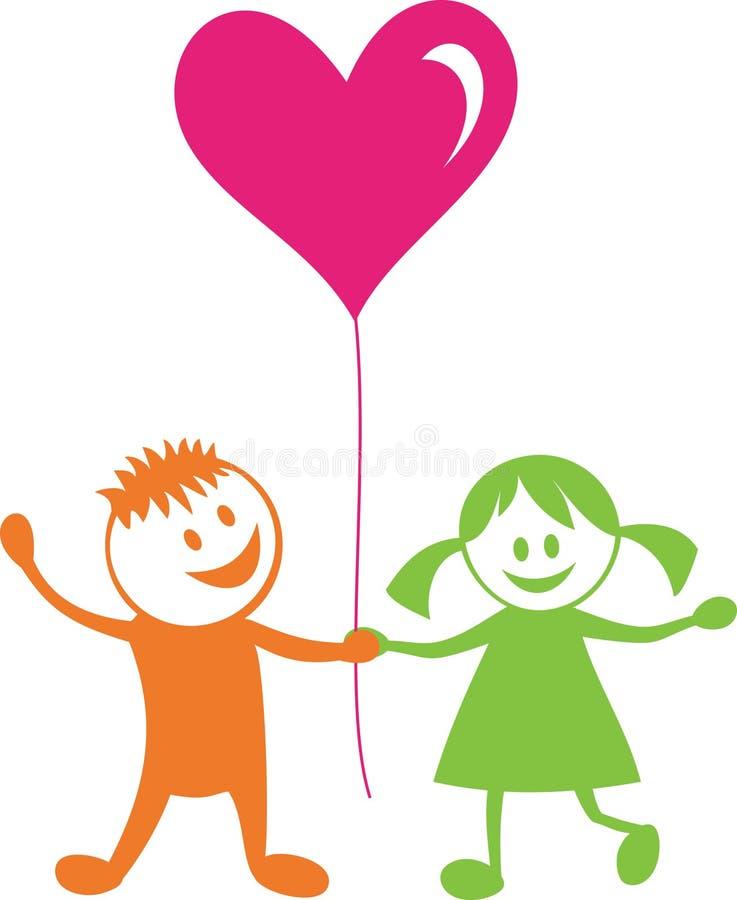 Niños felices con el corazón stock de ilustración