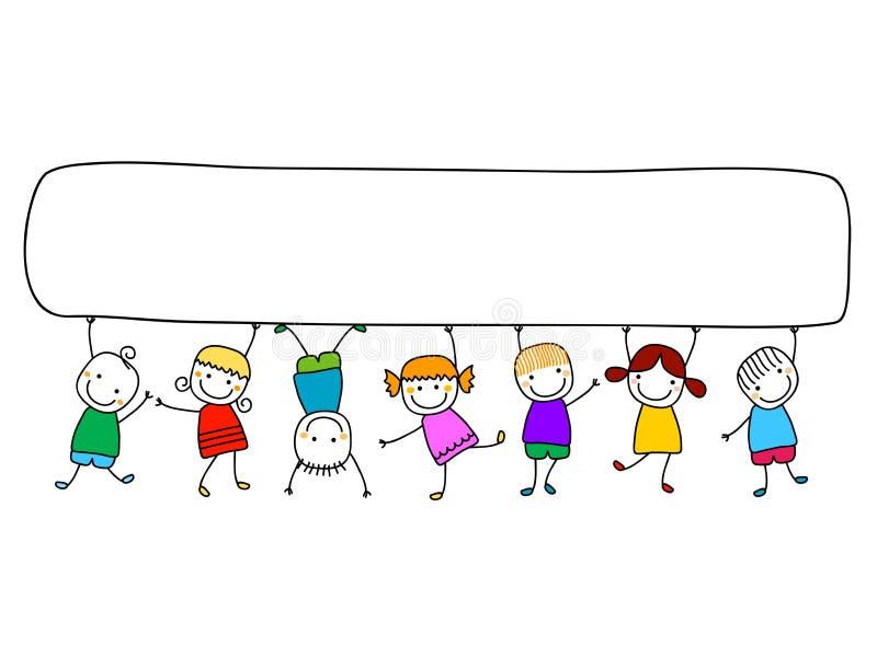 Niños felices con la bandera stock de ilustración