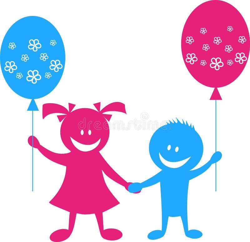 Niños felices con los globos ilustración del vector