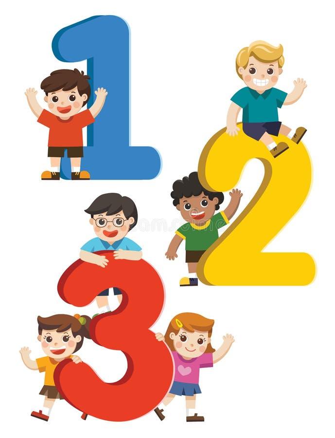 Niños felices con números libre illustration
