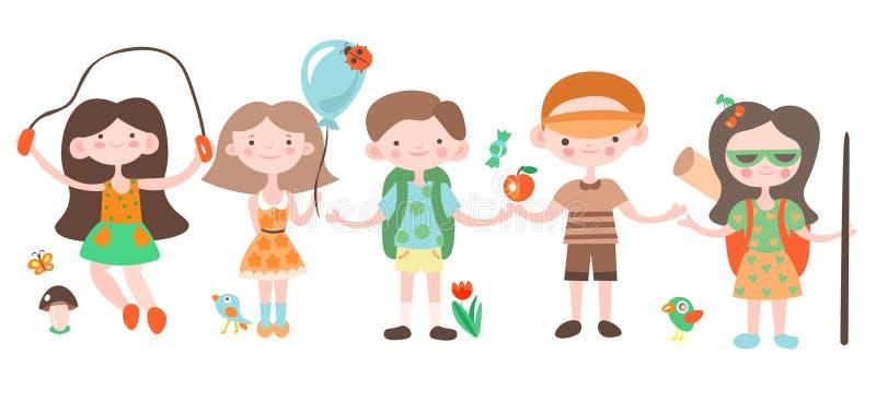 Niños felices, día de fiesta y el jugar que acampa con los elementos del campo Ejemplo del vector de la historieta de los niños d stock de ilustración