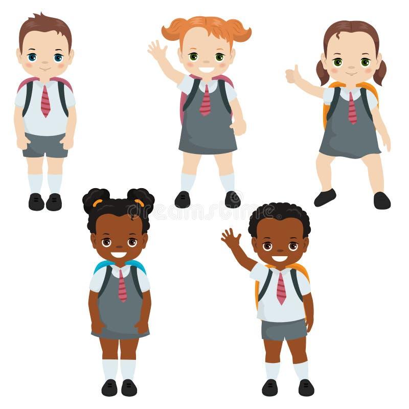 Niños felices de la escuela ilustración del vector