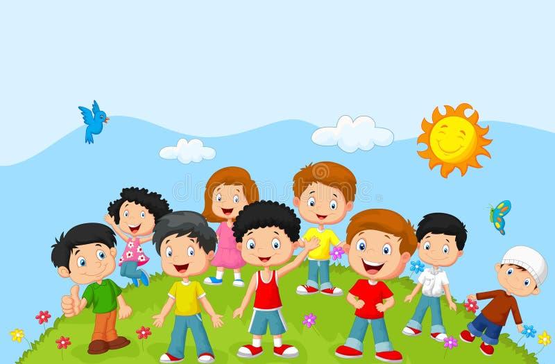 Niños felices de la historieta libre illustration