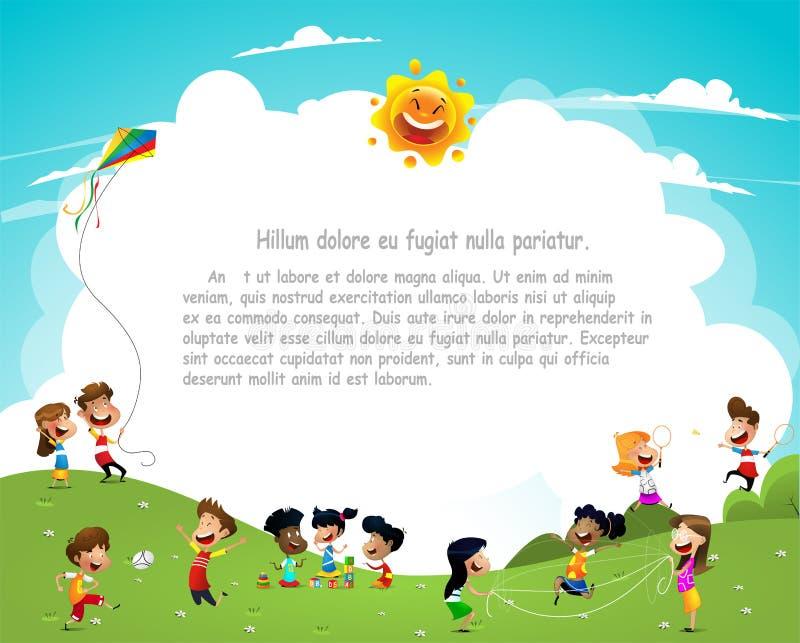 Niños felices de la historieta que tienen ilustración del vector
