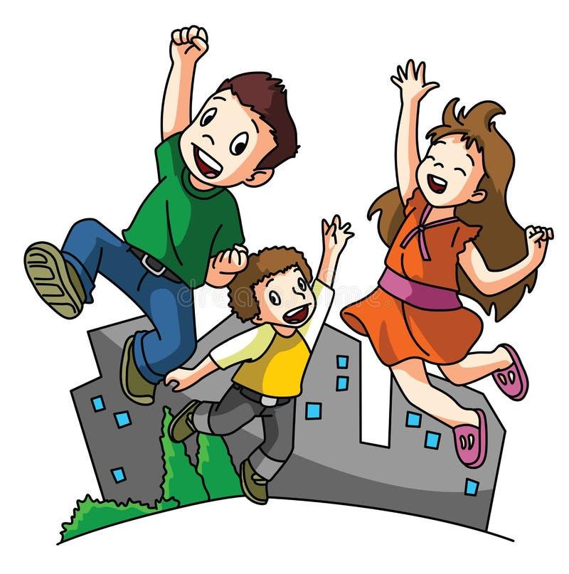 Niños felices de salto ilustración del vector