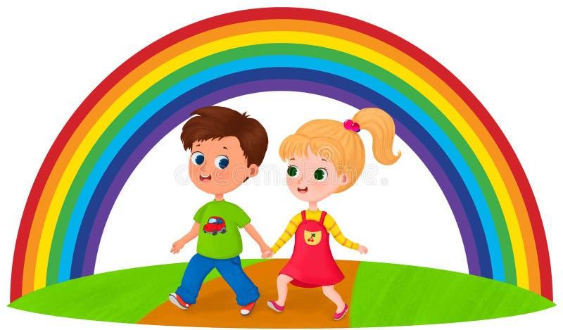 Niños felices debajo del arco iris stock de ilustración
