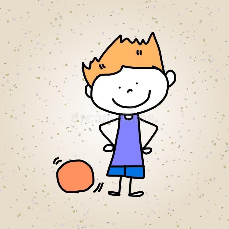 Niños felices del extracto de la historieta del dibujo de la mano ilustración del vector