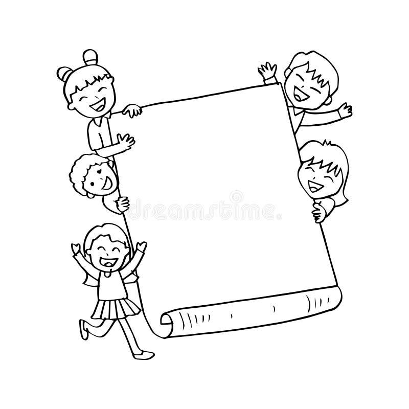Niños felices del garabato que llevan a cabo la muestra en blanco stock de ilustración