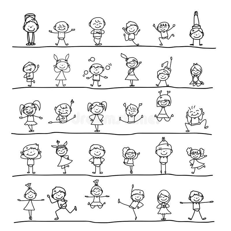 Niños felices del personaje de dibujos animados del dibujo de la mano stock de ilustración