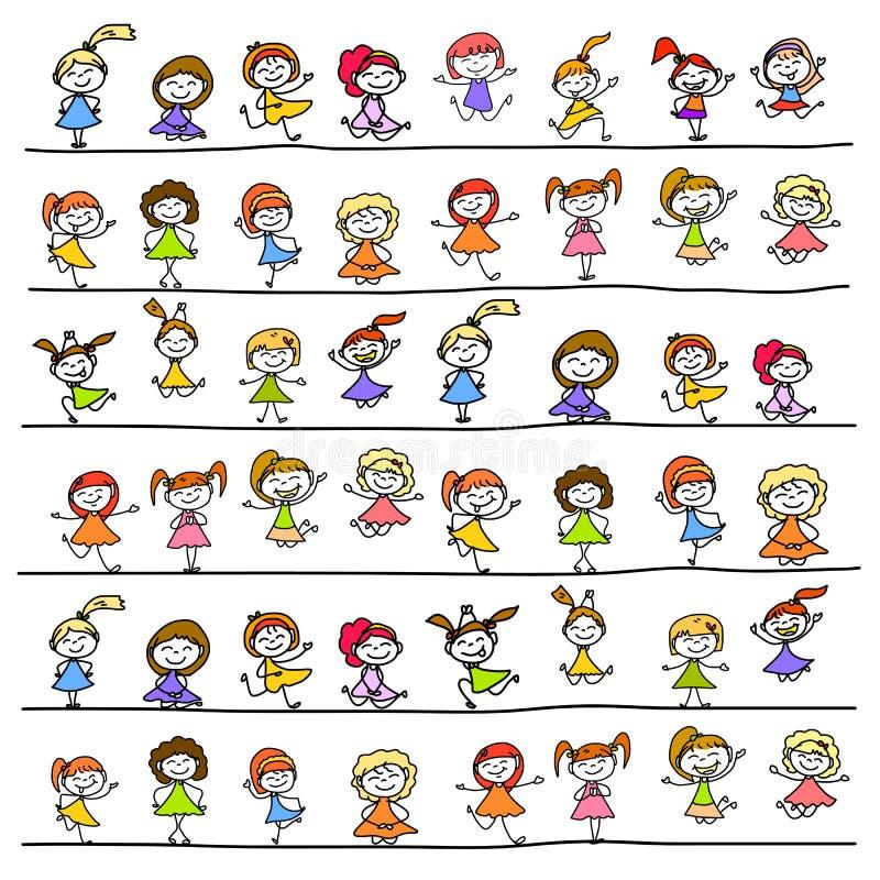 Niños felices del personaje de dibujos animados del dibujo de la mano libre illustration