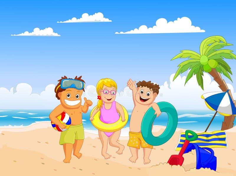 Niños felices del verano en la playa ilustración del vector
