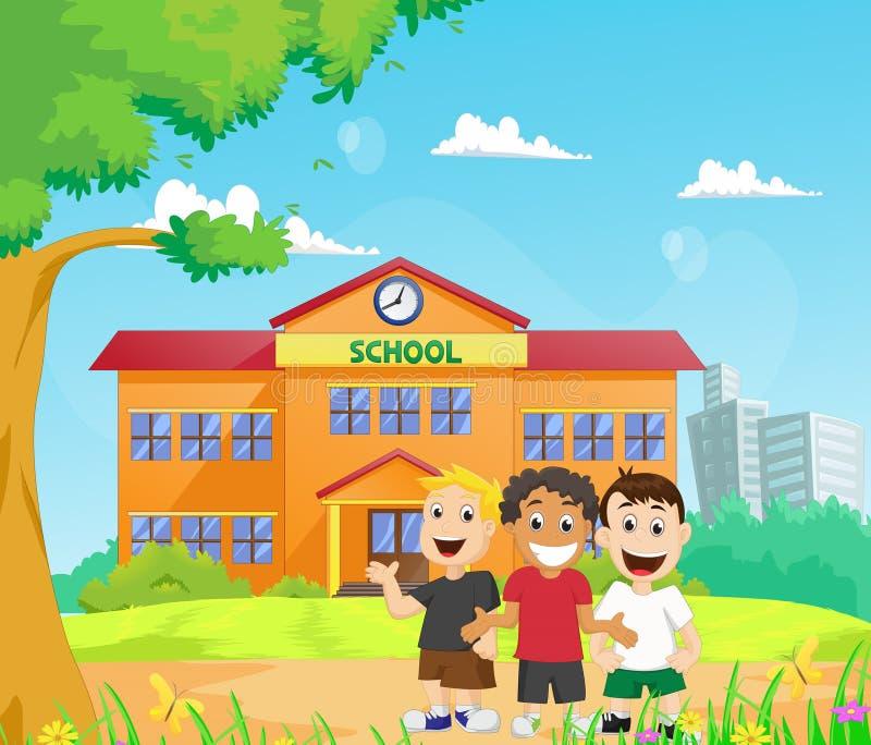 Niños felices delante de la construcción de escuelas stock de ilustración