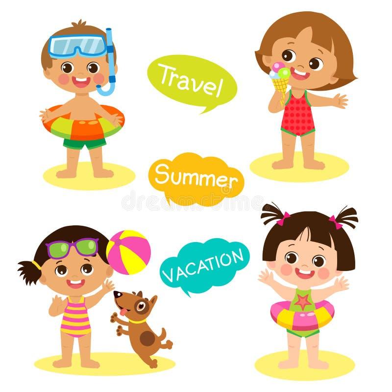 Niños felices en el sistema del vector de la playa Niños planos del estilo de la historieta en playa el vacaciones de verano stock de ilustración