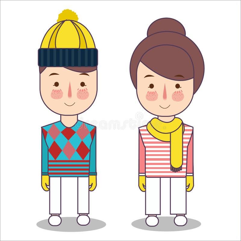 Niños felices en la ropa del invierno que lleva el sombrero y la bufanda muchacha y muchacho listos para el frío y la nieve Ejemp ilustración del vector