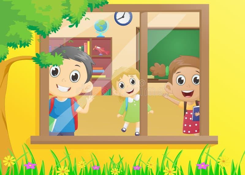 Niños felices en la sala de clase libre illustration