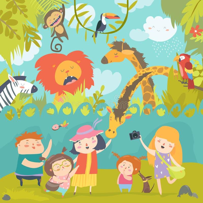 Niños felices en parque zoológico con los animales africanos salvajes stock de ilustración