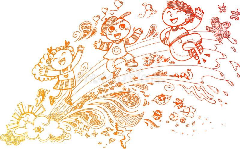 Niños felices en un arco iris stock de ilustración