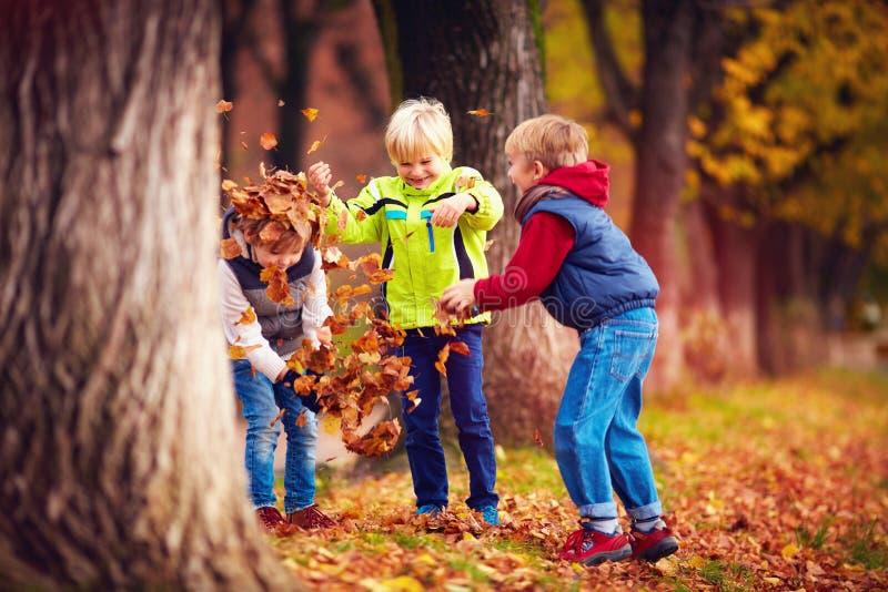 Niños felices encantados de la escuela, amigos que se divierten que lanza las hojas caidas en parque del otoño foto de archivo libre de regalías
