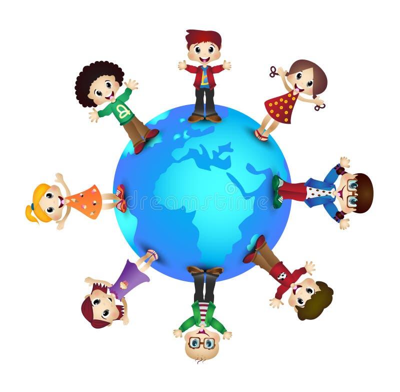 Niños felices lindos sobre el planeta de la tierra libre illustration