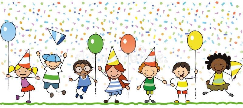 Niños felices que celebran la fiesta de cumpleaños - ejemplo de los niños stock de ilustración
