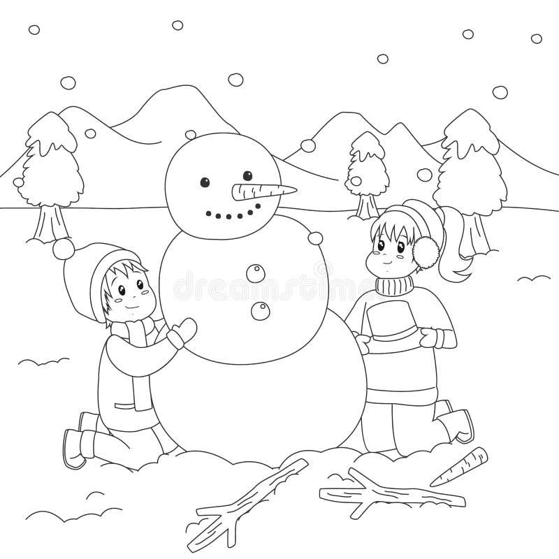 Niños felices que construyen un muñeco de nieve Vector de la historieta de la página que colorea stock de ilustración
