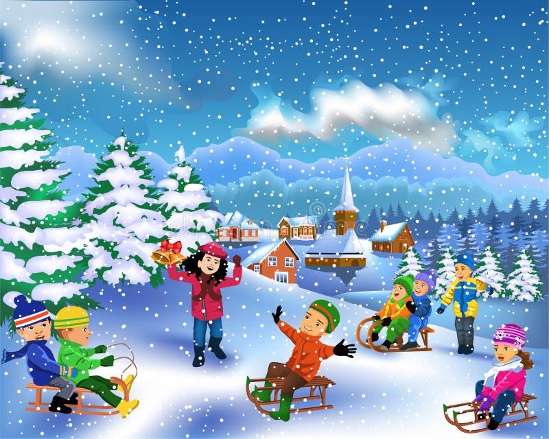 Niños felices que disfrutan de la estación del invierno stock de ilustración