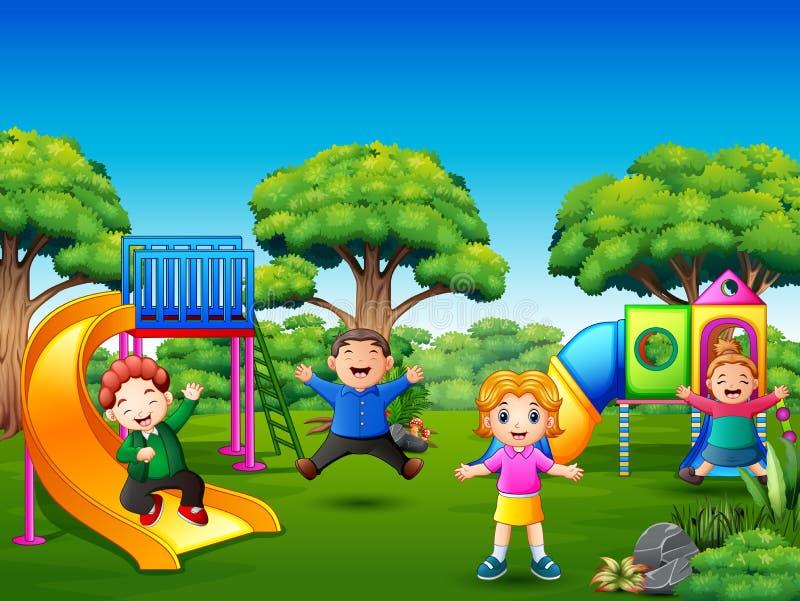 Niños felices que juegan en el patio stock de ilustración
