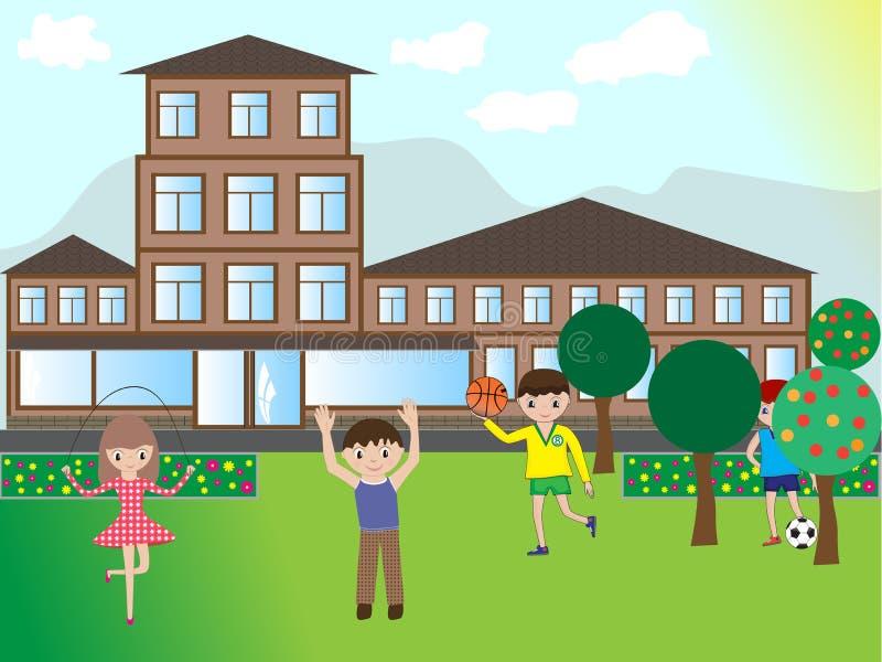 Niños felices que juegan en la calle cerca de la casa libre illustration