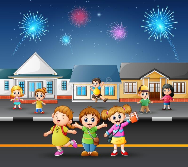 Niños felices que juegan en la calle de una vecindad suburbana libre illustration