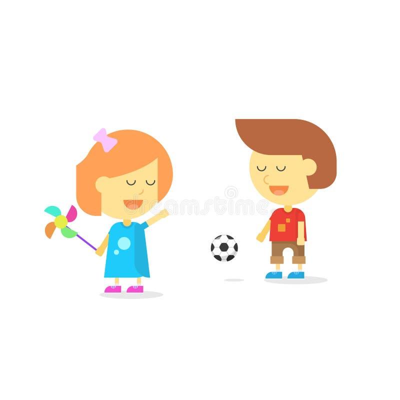Niños felices que juegan, niños sonrientes muchacho de la historieta y muchacha del niño ilustración del vector
