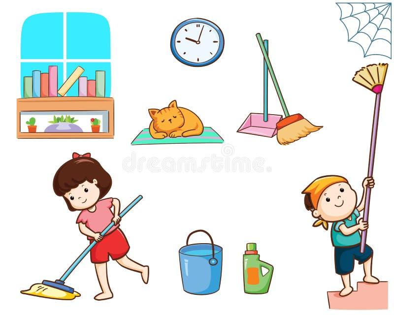Niños felices que limpian la casa ilustración del vector