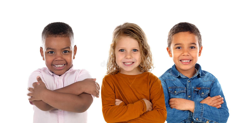 Niños felices que miran la cámara imagen de archivo