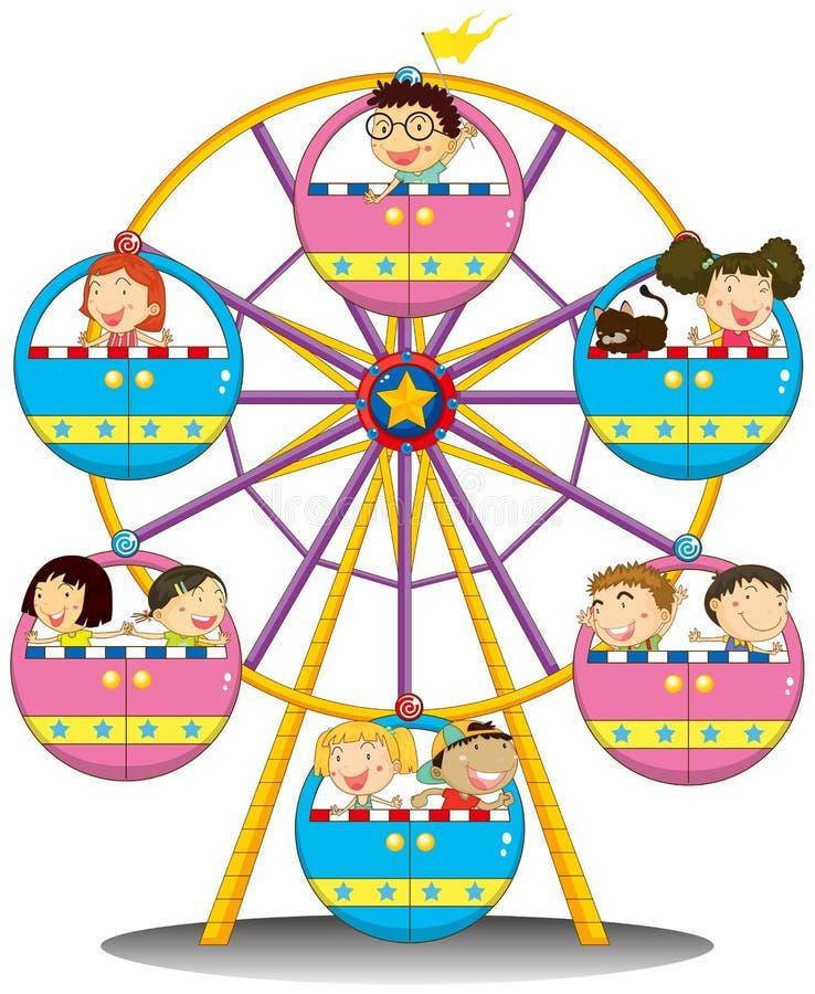 Niños felices que montan la noria stock de ilustración