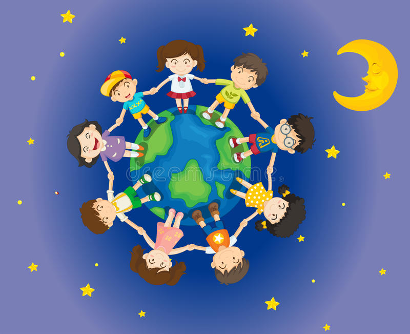 Niños felices que rodean la tierra stock de ilustración